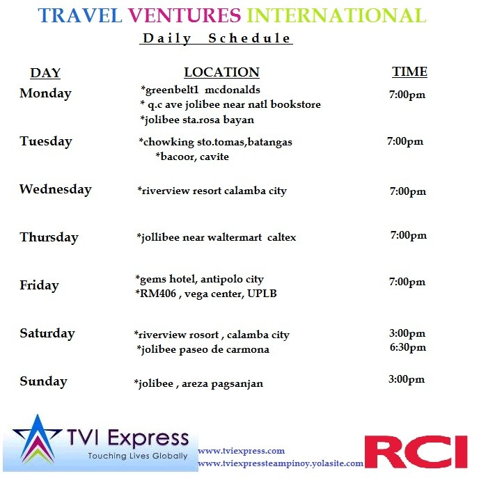 Tvi express team pinoy check our daily schedules of business opportunity presentation wc is listed below just choose what schedules fits on you reheart Image collections